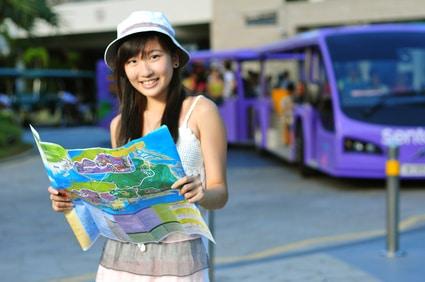 Little Chinese Asian Tourist Girl enjoying her holiday