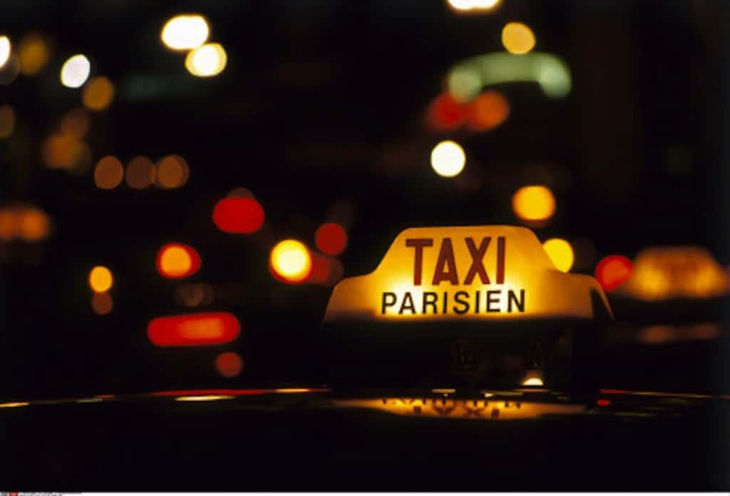 France, Paris, Taxi Sign, Night Lights