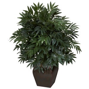 Double-Bamboo-Palm-with-Decorative-Planter-Silk-Plant-L13908175